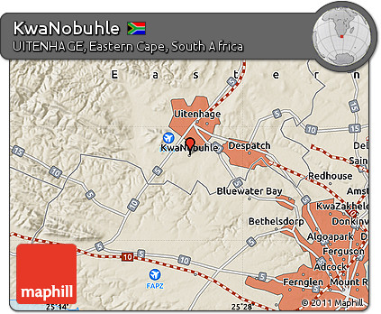 Free Shaded Relief Map of KwaNobuhle