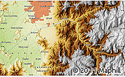 """Physical Map of the area around 33°42'13""""S,70°28'29""""W"""