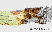 """Physical Panoramic Map of the area around 33°42'13""""S,70°28'29""""W"""