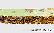 """Physical Panoramic Map of the area around 34°0'57""""N,108°52'30""""E"""