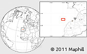 """Blank Location Map of the area around 34°0'57""""N,10°7'30""""W"""