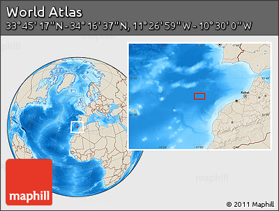 """Shaded Relief Location Map of the Area around 34°0'57""""N,10°58'29""""W"""