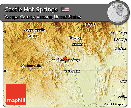 Map Of Arizona Hot Springs.Free Physical Map Of Castle Hot Springs