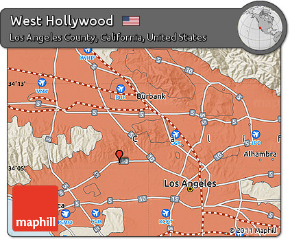 Free Shaded Relief Map of West Hollywood