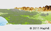 """Physical Panoramic Map of the area around 34°0'57""""N,118°4'29""""W"""