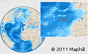 """Shaded Relief Location Map of the area around 34°0'57""""N,11°49'29""""W"""