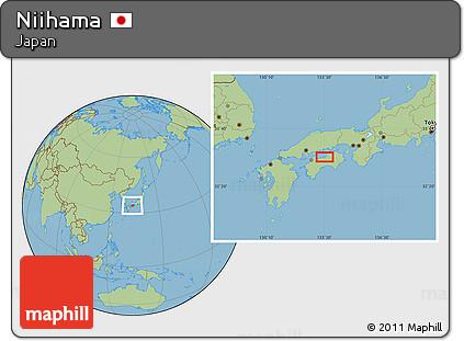 Free Savanna Style Location Map Of Niihama - Niihama map