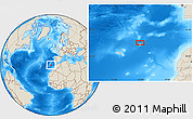 """Shaded Relief Location Map of the area around 34°0'57""""N,14°22'30""""W"""