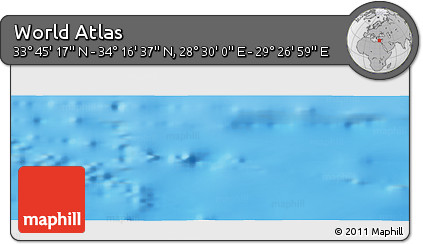 """Shaded Relief Panoramic Map of the Area around 34°0'57""""N,28°58'30""""E"""