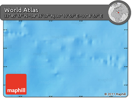 """Shaded Relief Map of the Area around 34°0'57""""N,30°40'29""""E"""