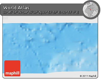 """Physical 3D Map of the Area around 34°0'57""""N,32°22'30""""E"""