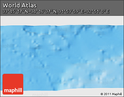"Shaded Relief 3D Map of the Area around 34° 0' 57"" N, 32° 22' 30"" E"