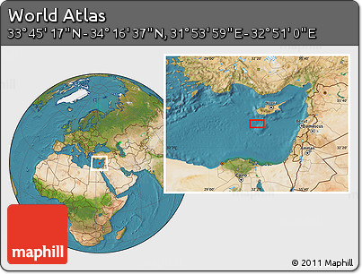 """Satellite Location Map of the Area around 34°0'57""""N,32°22'30""""E"""