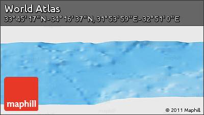 """Shaded Relief Panoramic Map of the Area around 34°0'57""""N,32°22'30""""E"""