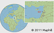 "Savanna Style Location Map of the area around 34°0'57""N,34°4'30""E"