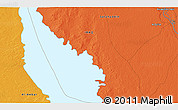 """Political 3D Map of the area around 34°0'57""""N,43°25'29""""E"""