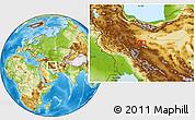 Physical Location Map of Kāshān