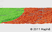 """Political Panoramic Map of the area around 34°0'57""""N,65°31'30""""E"""