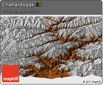 Physical Panoramic Map of Chahārdogak