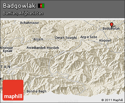 Shaded Relief Panoramic Map of Badqowlak