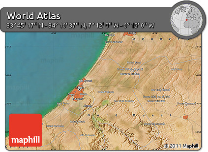 """Satellite Map of the Area around 34°0'57""""N,6°43'29""""W"""