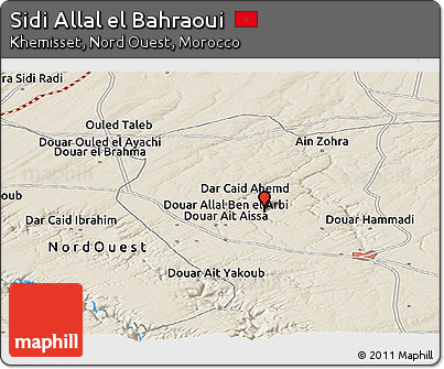 Free Shaded Relief Panoramic Map of Sidi Allal El Bahraoui