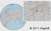 Gray Location Map of Peshāwar, hill shading