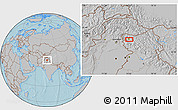 Gray Location Map of Srīnagar, hill shading