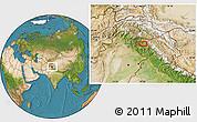 Satellite Location Map of Srīnagar