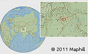 Savanna Style Location Map of Srīnagar, hill shading