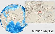 Shaded Relief Location Map of Srīnagar