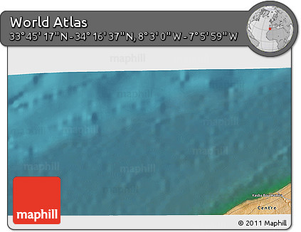 """Satellite 3D Map of the Area around 34°0'57""""N,7°34'30""""W"""
