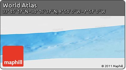 """Physical Panoramic Map of the Area around 34°0'57""""N,8°25'30""""W"""