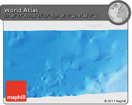 """Shaded Relief 3D Map of the Area around 34°0'57""""N,9°16'30""""W"""