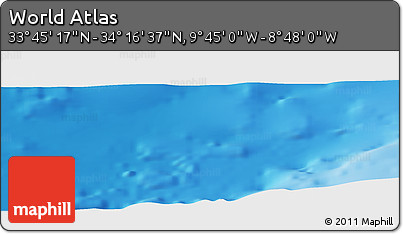"""Physical Panoramic Map of the Area around 34°0'57""""N,9°16'30""""W"""