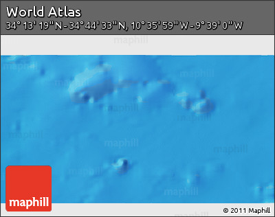 "Shaded Relief 3D Map of the Area around 34° 28' 56"" N, 10° 7' 30"" W"