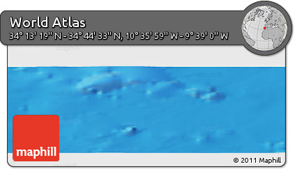 """Shaded Relief Panoramic Map of the Area around 34°28'56""""N,10°7'30""""W"""