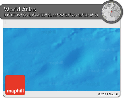 """Shaded Relief 3D Map of the Area around 34°28'56""""N,10°58'29""""W"""