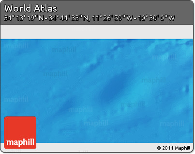"Shaded Relief 3D Map of the Area around 34° 28' 56"" N, 10° 58' 29"" W"