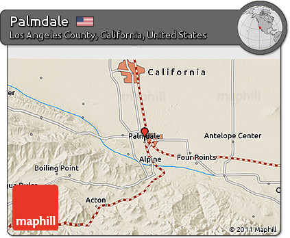 Free Shaded Relief 3D Map of Palmdale