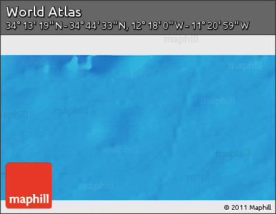 """Shaded Relief 3D Map of the Area around 34°28'56""""N,11°49'29""""W"""