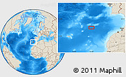 """Shaded Relief Location Map of the area around 34°28'56""""N,12°40'30""""W"""