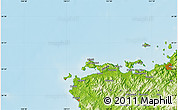 """Physical Map of the area around 34°28'56""""N,130°58'29""""E"""