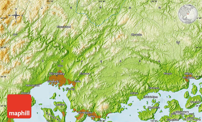 Physical Map of Hiroshima