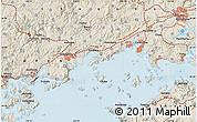 Shaded Relief Map of Okayama