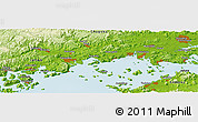 """Physical Panoramic Map of the area around 34°28'56""""N,133°31'30""""E"""