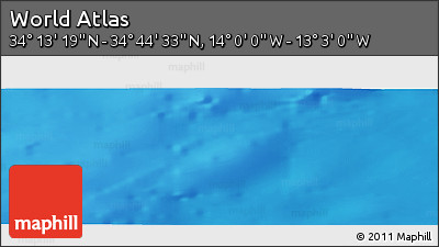 """Shaded Relief Panoramic Map of the Area around 34°28'56""""N,13°31'30""""W"""