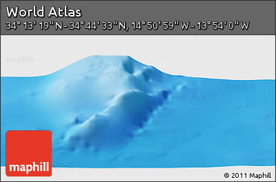 """Shaded Relief Panoramic Map of the Area around 34°28'56""""N,14°22'30""""W"""
