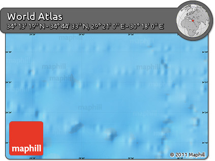 """Shaded Relief Map of the Area around 34°28'56""""N,29°49'30""""E"""