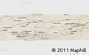 "Shaded Relief Panoramic Map of the area around 34° 28' 56"" N, 2° 28' 30"" W"